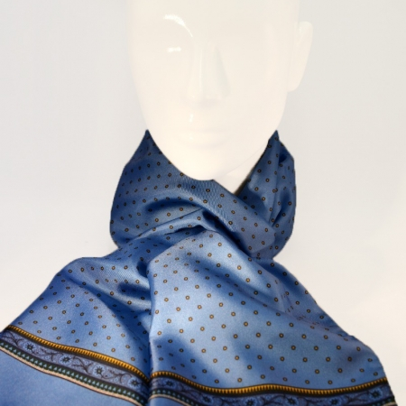 Polka dot scarf with floral pattern on the side