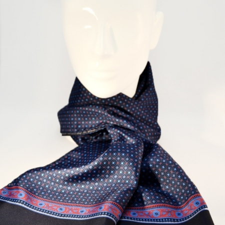 Scarf with geomtrical fantasy and  floral side